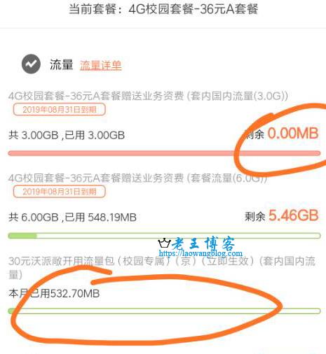 2019 联通校园卡流量 20G 流量包到账