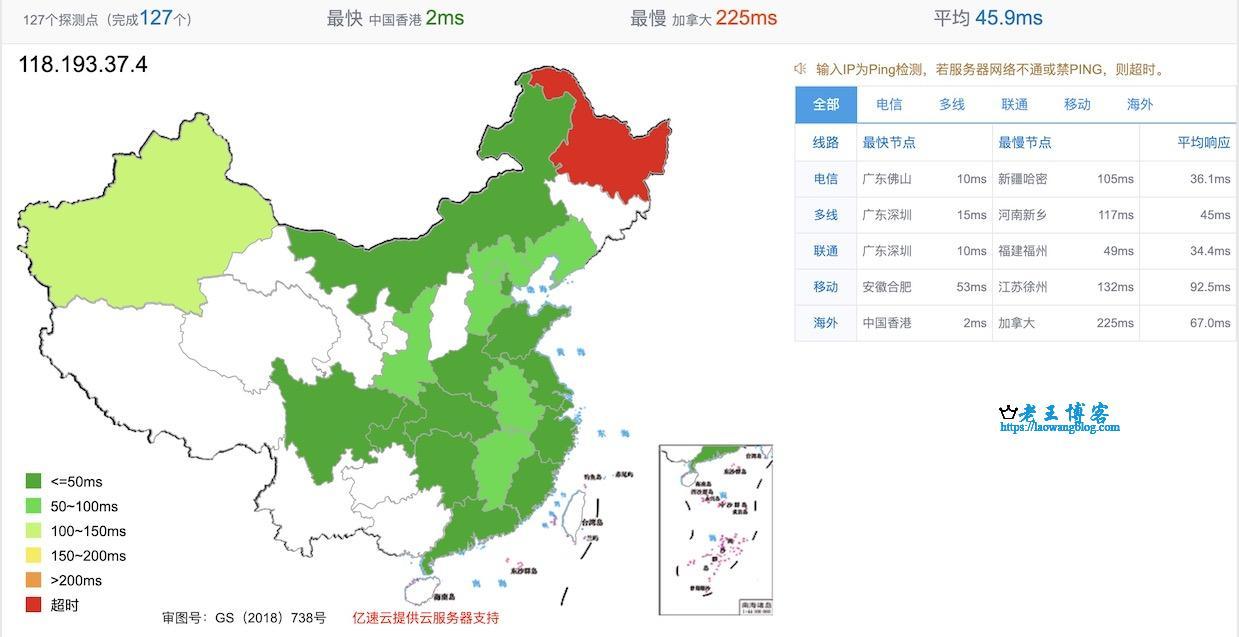 UCloud 香港 CN2 VPS 的全国延迟