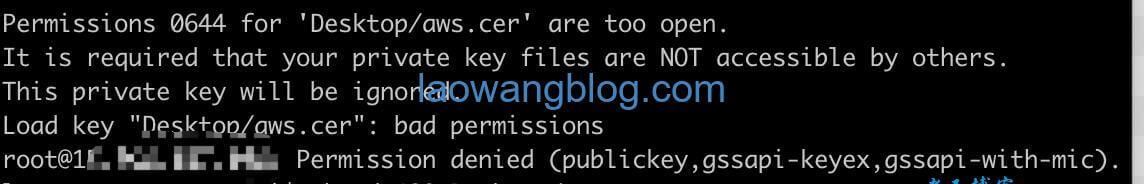AWS too open ssh key