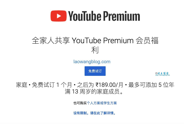 YouTube Premium 印度区